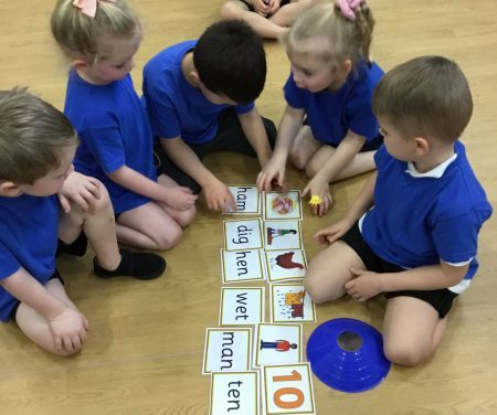 Active phonics lesson in PE.