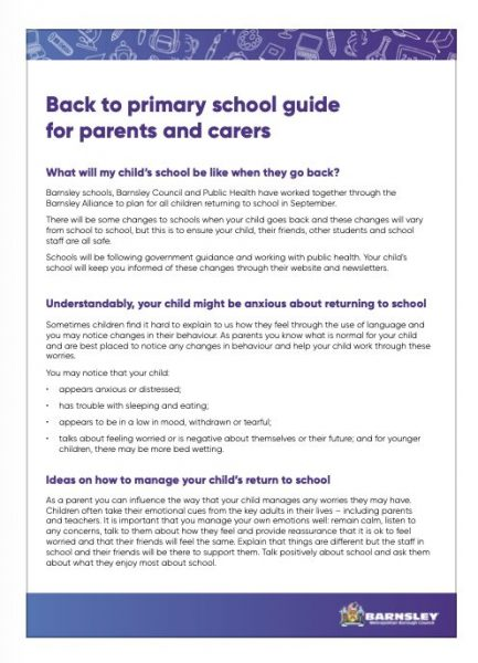 Back to primary school guide for parents and carers
