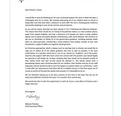 A letter from the Chief Executive of the Trust