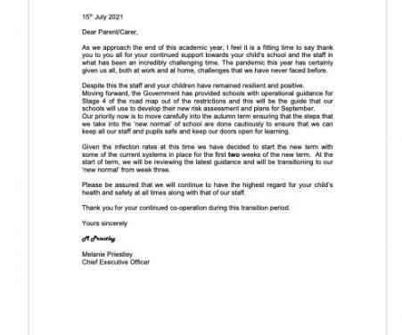 Letter for parents July 21