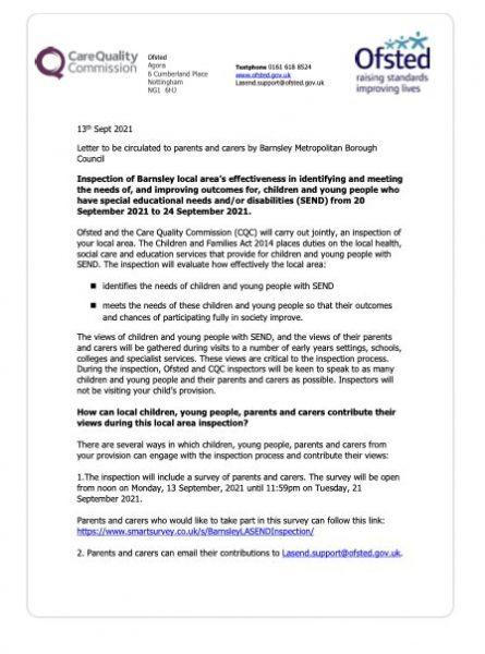 LA SEND Letter To Parents